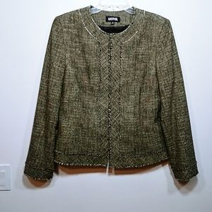 Kasper Long Sleeve Tweed Blazer Fringe Trim Sz 14